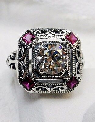 *Ruby* & White Gem 1930s Art Deco Sterling Silver Filigree Ring {Made To Order}
