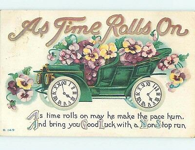 Pre-Linen TIME ROLLS ON - CLOCKS USED AS WHEELS ON OLD AUTOMOBILE CAR HL5698