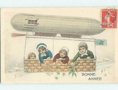 Pre-Linen aircraft history foreign FRENCH KIDS FLY UNDER ZEPPELIN BALLOON HL7403