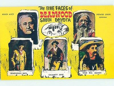 Pre-1980 Western FIVE MOST FAMOUS FACES Deadwood - Near Rapid City SD hn5121