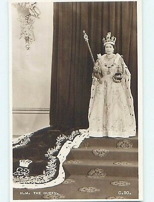 1953 rppc royalty QUEEN ELIZABETH THE DAY SHE WAS CROWNED IN ENGLAND UK HM0972