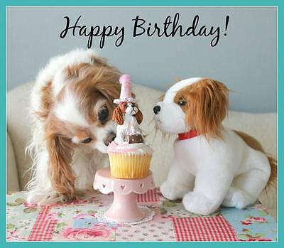 Wishing A Happy Birthday! Cavalier King Charles Spaniel small blank Note Card