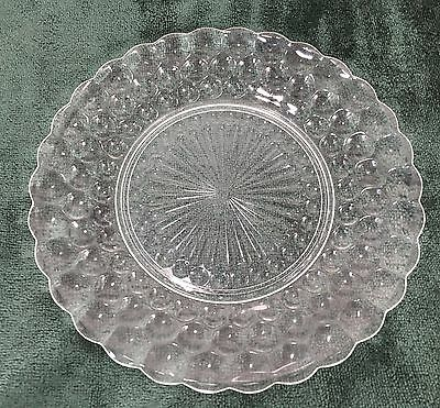 "Anchor Hocking Set of 6 Clear Bubble Glass Dinner Plates 9 1/2"" Vintage"