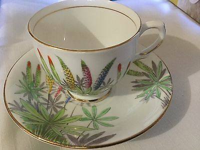 T&k Bone China Cup And Saucer  England    Lupin Pattern