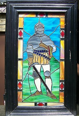 "Custom Made Knight Stained Glass Window W /light Box,  15 1/2"" X 28"" Glass"