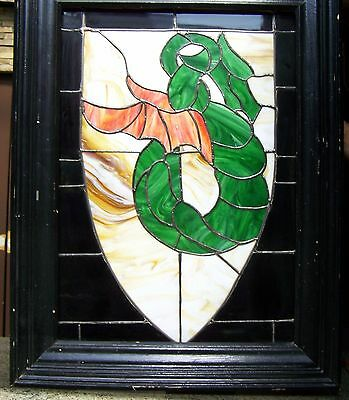 "Custom Made Dragon Shield Stained Glass Window W /light Box, 20 1/2"" X 30"" Glass"