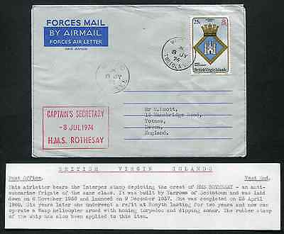 VIRGIN ISLANDS (13698): H.M.S. ROTHESAY cancel/Forces Air Letter