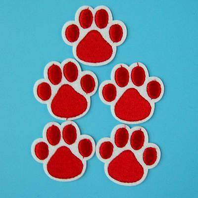 5 Dog Cat Bear Paw Print Iron on Sew Patch Embroidered Applique Biker Motif Cute