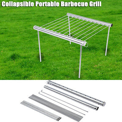 Foldable Stainless Steel Outdoor Camping Barbecue Grill Garden Picnic BBQ Grill