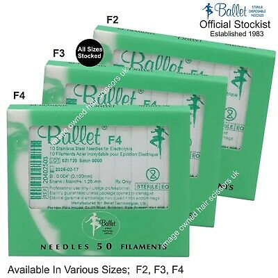 Ballet Needles Epilation Electrolysis ALL SIZES STOCKED F2 F3 F4 Pack 50