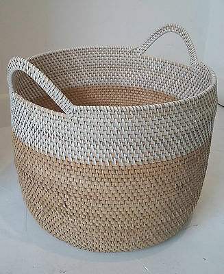Small Artisan Two Tone Basket Log Storage Laundry Toys Wicker Planter Handmade