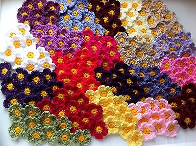 20xNew Crochet Summer Flowers Applique Embellishment-Multi-Coloured Daisies