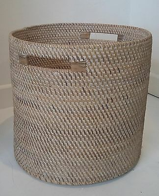 Large Round Rattan Basket Log Storage Laundry Toys Wicker Planter Handmade