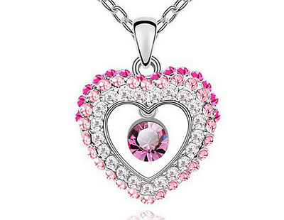 Fashion Womens Heart  Pink Crystal Rhinestone Silver Chain Pendant Necklace ----