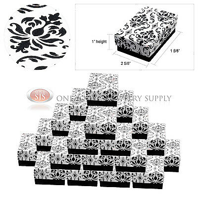 """25 Damask Print Gift Jewelry Cotton Filled Boxes 2 5/8"""" x 1 5/8"""" x 1"""" Earrings"""