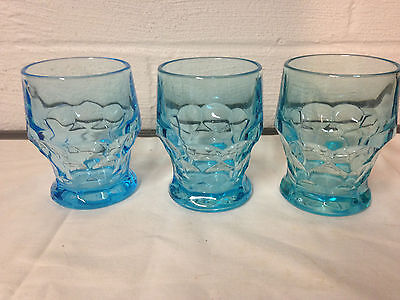 3 Vintage Aqua Blue Drinking Glasses Tumblers Barware