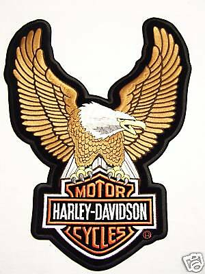 #1177 L Harley Motorcycle Vest Patch Brown Upwing Eagle Emb328394