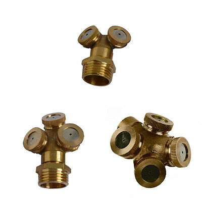 Brass Spray Misting Nozzle Garden Sprinklers for 2-3-4 Hole Hose Water Connector