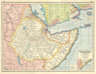 EAST AFRICA. Eritrea Abyssinia British Italian French Somaliland Aden 1920 map