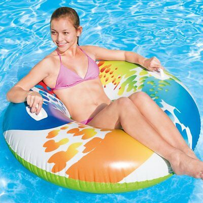 """47"""" Inflatable Pool Swim Rubber Ring Tyre Beach Tube & Handles Childrens/Adults"""
