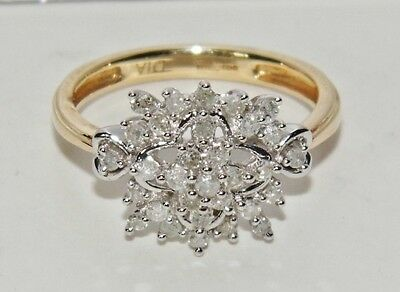 9ct Yellow Gold 0.25ct Diamond Snowflake Cluster Ring - size H