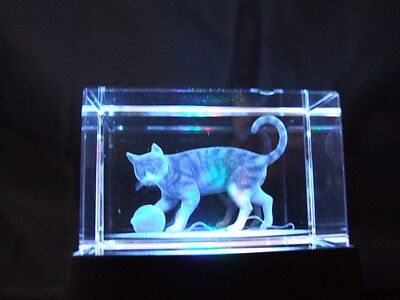 Crystal 3D Laser Block and Coloured Light Box - Cat.
