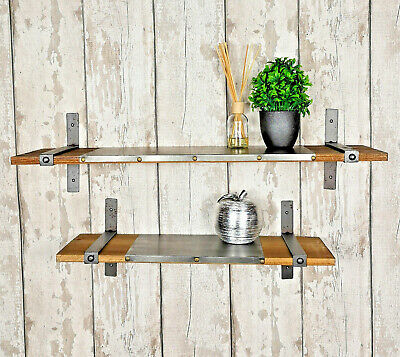 Set of 2 Industrial Shelves Vintage Rustic Floating Wall Mounted Shelving Units