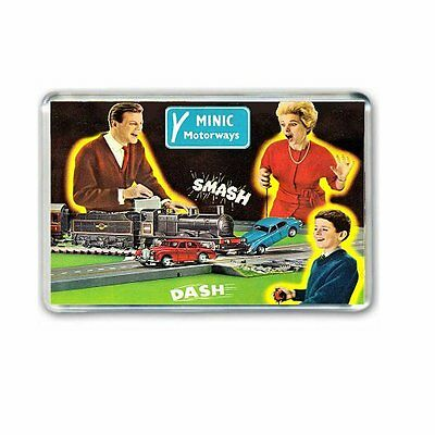 RETRO - TRIANG MINIC MOTORWAYS+ DASH and CRASH  ART -JUMBO FRIDGE/ LOCKER MAGNET