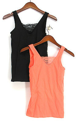 Rhonda Shear Size L Ahh 2 Pack Seamless Lace Insert Tank Top Black Set New