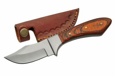"FIXED BLADE HUNTING KNIFE | 7.25"" Skinner Upswept Blade Wood Handle Full Tang"