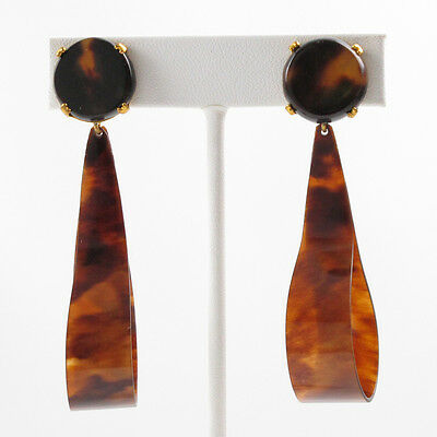 Vintage Celluloid clip on Earrings large hoop faux tortoise dangle shape