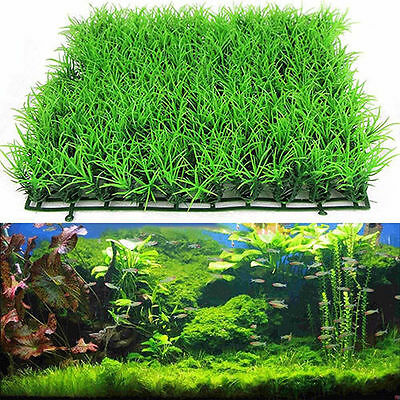 Green Grass Plastic Fish Tank Ornament Plant Aquarium Lawn Decoration CHIC
