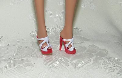 Barbie Model Muse Red White Basics Sandals High Heels Shoes Accessory 4 Doll