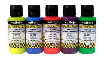 AV Premium Airbrush Paint : Fluorescent 5 Colour Set