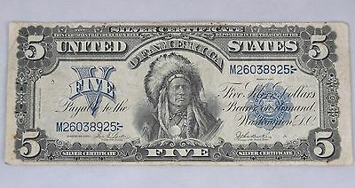 """Series 1899 Large Native Indian """"Chief"""" $5 Silver Certificate Bill Parker/Burke"""