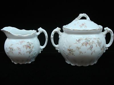 Lovely 1890 Bishope & Stonier Large Creamer & Covered Sugar! Blue/Pink Flowers