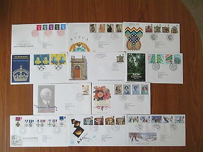 1990 Collection Of 10 Of The 12 First Day Covers All With Special Handstamps