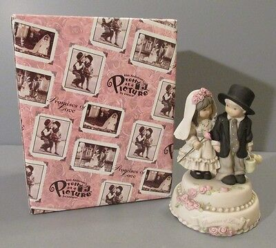"""Enesco Pretty as a Picture """"Promises of Love"""" Wedding Couple Musical Figurine"""
