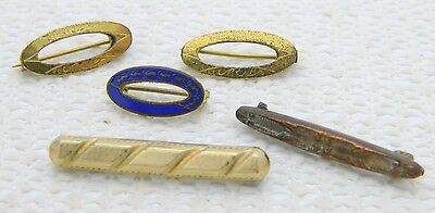 Antique Lot of 5 Five Victorian Gold Filled Bar Pin Brooches Enamel Engraved