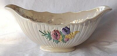 Maling Lustre Fluted Flower Bowl With Relief Moulded Flowers