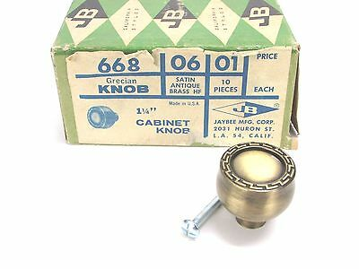 NOS! JB JAYBEE MFG. #668 GRECIAN CABINET KNOBS, SATIN ANTIQUE BRASS, LOT of (9)