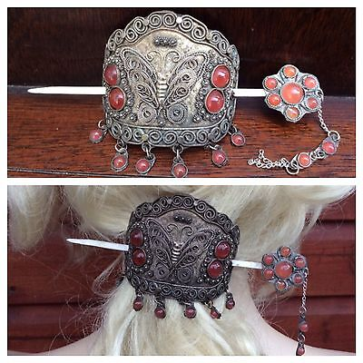 Vintage Beaded Tibet Silver Tone Bun Holder Pin Stick Slide Hair Barrette Boho