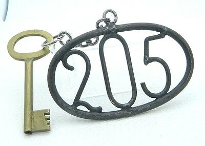 Antique Hotel Brass Skeleton Key Cast Iron Room 205 Tag Key Chain