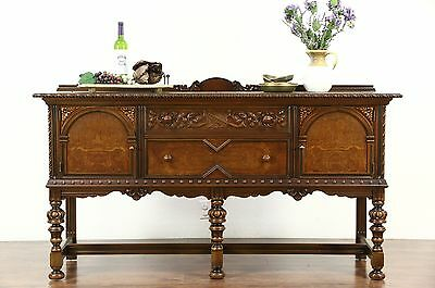 English Tudor 1920's Antique Sideboard, Server or Buffet, Signed Berkey & Gay