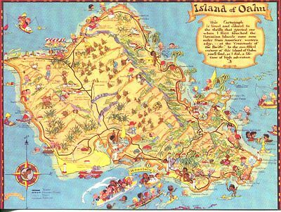 Post Card Of An Old Tourist Map Of The Island Of Oahu, Hawaii