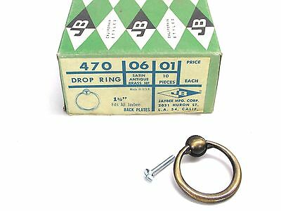 NOS! JB JAYBEE MFG. #470 CABINET DROP RING, SATIN ANTIQUE BRASS, LOT of (5)