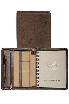New Scully Aero Squadron Leather Zip Monthly & Weekly Planner Agenda Walnut