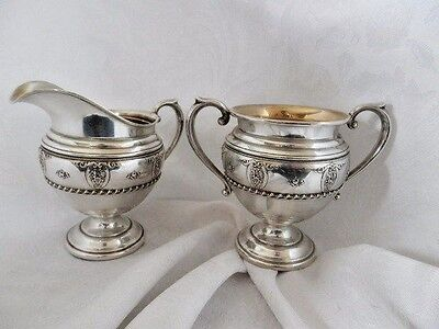 Vintage WALLACE STERLING CREAMER & OPEN SUGAR SET ~ ROSE POINT