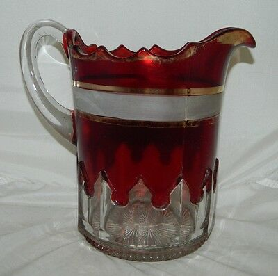 Antique EAPG Ruby Stain Glass Heavy Gothic McKee Early American Pressed Pitcher