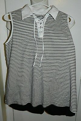 DUO MATERNITY 2-Piece Tank Top Short Outfit Black White Beige Striped Size Large